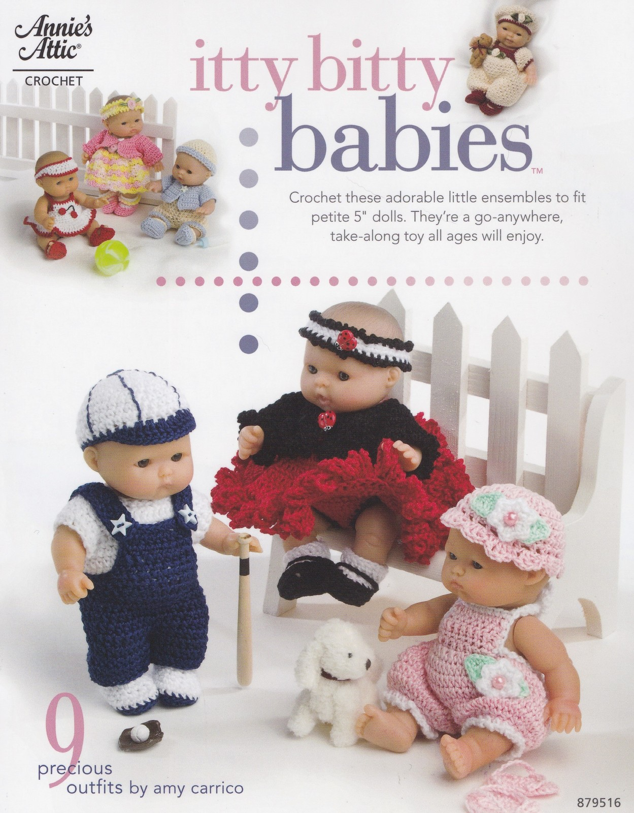 Itty Bitty Babies, Annie's Crochet Doll Clothes Pattern Booklet 879516 RARE  NEW