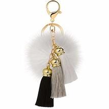 JOUDOO Rabbit Ball Keychain with Gradual Color Tassels Keyring GJ007 white - $9.37