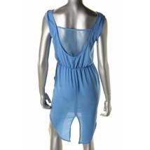 Against Nudity Blue Chiffon Mesh Open Back Split Tail Hem Dress S 4 6 Pocket - $23.00