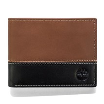 NEW TIMBERLAND MEN'S GENUINE LEATHER COMMUTER WALLET BROWN/BLACK D87242/00