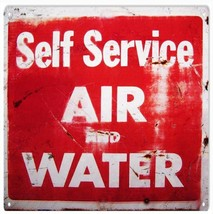 "Self Service Air And Water Gas Station 12' x 12"" Service Sign - $25.74"