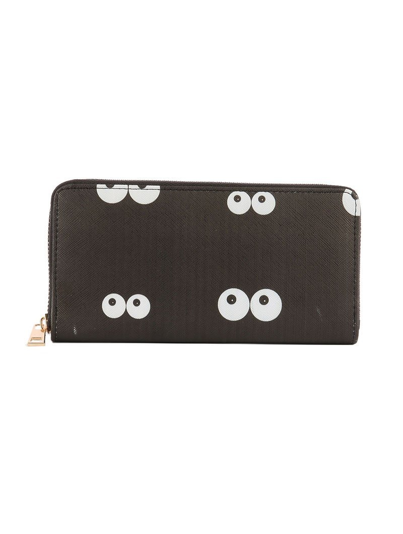 Eye Balls in the Dark Print Zip Around Wallet Clutch Purse