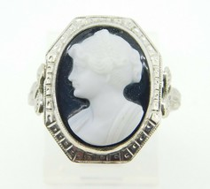 14k White Gold Genuine Natural Hard Stone Cameo Ring with Applied Ribbon... - $495.00