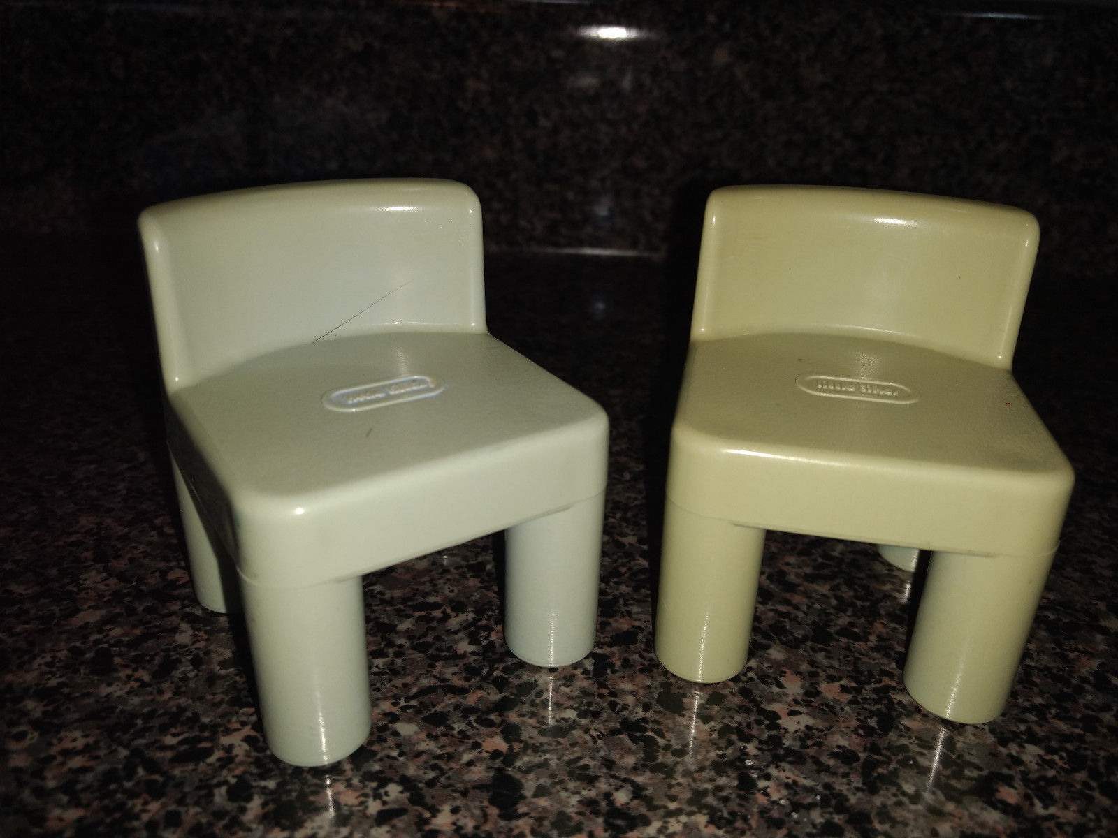 Vintage Little Tikes Blue-Green Chairs Dollhouse Furniture Toy #2, #6 Set of 2