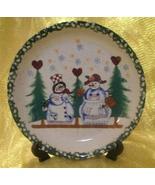 Mr and Mrs Snowman Vintage Glazed Pottery Plate  - $15.00