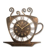 AD Household Coffee Cup Plastic Kitchen Clock, Color - Antique Brass - $27.70