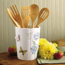 NEW IN THE BOX LENOX CHINA BUTTERFLY MEADOW UTENSIL CROCK  - $89.09