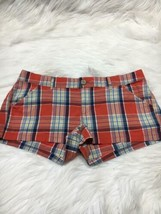 Hollister shorts size 3 red multi color checks plaid b15 - $9.49