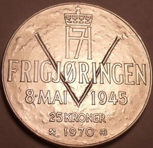Unc Silver Norway 1970 25 Kroner~25th Anniversary Of Liberation~Free Shipping - $38.60