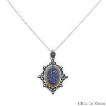 Blue Titanium Druzy Necklace - $135.99