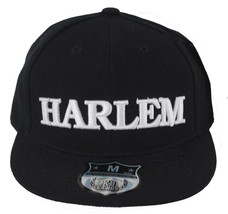 New Black/White Embroidered Harlem Easy Flat Peak Fitted Baseball Cap M ... - $45.00