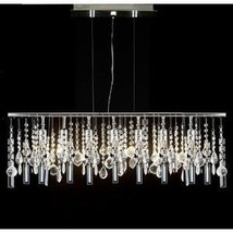 "Modern Contemporary Linear Chandelier Lighting Lamp W/ Crystal H58"" X W38"" - $243.03"