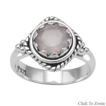 Sterling Silver Ring with Genuine Faceted Rose Quartz - €57,42 EUR
