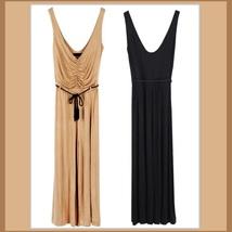 Nude or Black Long Sleeveless Jersey Jumpsuit  with Drawstring Tassel Tie Belt image 3