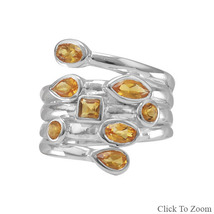 Unique Sterling Silver Ring with Multishaped Genuine Citrine Stones - €116,10 EUR