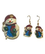 Snowman Pin and Dangle Earrings - $6.99