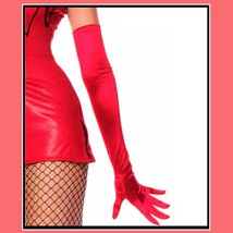 Long Red Satin Opera Full Finger Gloves