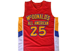 Derrick Rose #25 McDonald's All American Men Basketball Jersey Red Any Size image 1