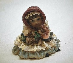 Old Vintage Resin Girl w Teddy Bear Country Farm Shadowbox Shelf Decor - $6.92