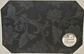 "SET OF 2 DAMASK FABRIC PLACEMATS 12"" x 18"", FLOWERS ON BLACK by BH - $11.87"