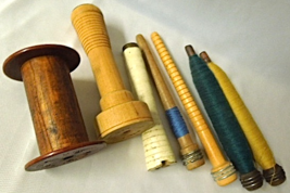 Lot of 7 Antique Wood Spools and Bobbins -Various Sizes and Types #6864 - $17.99
