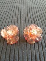 Vintage Pink Rhinestone Celluloid Flower Clip On Earrings - $12.00