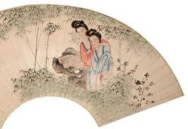 Liu Ling Cang (1907-1992) Chinese Fan Painting                          ... - $1,950.00