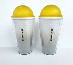 2012 Starbucks Chiseled Yellow Ombre Dome Tumbler 16 oz Cold Cups Set of 2 - $44.99
