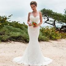 Fabulous Lace V-neck Neckline Mermaid Wedding Dress Open Back Bridal Dress