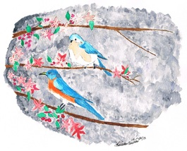 8x10 Blue Birds and Blossoms Print Only - $15.00
