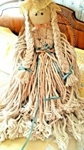 """Vintage 26"""" Mop Yarn Doll Handmade Country Ribbon Flowers Hat with Wicke... - $29.70"""