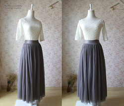 FULL GRAY Tulle Skirt Maxi Floor Length Skirt Women's Custom Bridesmaid Skirt image 3