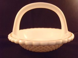 Milk Glass Candy Nut Trinket Dish Basket Vintage Diamond Point Gold Gild Rim  - $12.99