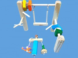 WOOD CAGE TOP PLAY GYM SET-WITH SWING,TOYS,& LITTLE GUY - £10.81 GBP