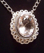 Crystal Quartz White Topaz Sterling Pendant Nec... - $1,195.00