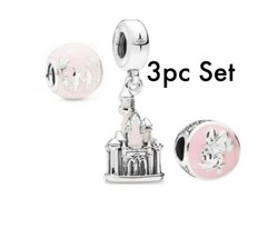 Disney Pink Castle Minnie Park Dangle Charms European Bead fit Bracelet - $14.03