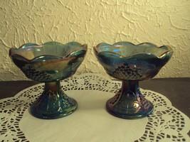 Vintage carnival glass candlesticks harvest grape iridescent blue Indian... - $29.29