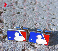 MLB Major League Baseball Red White and Blue Cufflinks - Wedding, Dad's Gifts - $3.95