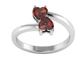 Double Heart Shape Garnet Open Wrap Wedding Ring 925 Sterling Silver - $19.01