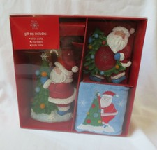 Kohls Christmas Bathroom Gift Set Towel Soap Dispenser Frame Santa. NIB - $15.00