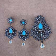 Turquoise Aquamarine Gemstone Designer Dangle Earrings & Pendant Set 925 Silver - $363.40