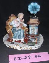 CAPODIMONTE Grandmother with Gramaphone Laurenz Sculpture COA  Italy #66 - $399.00