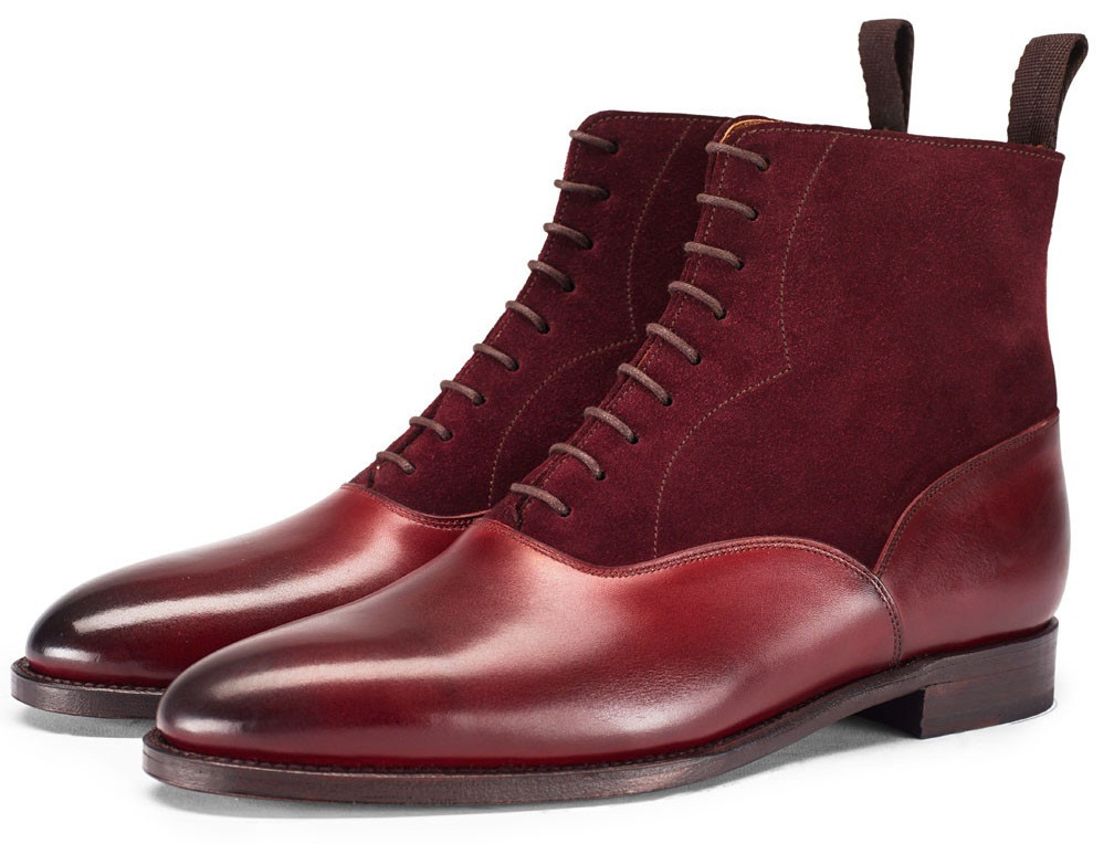 handmade mens burgundy chelsea calf leather and suede boot