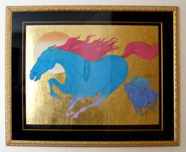 "Azoulay Serigraph w/Gold Leaf ""Equus"" 39"" x 45""... - $1,650.00"
