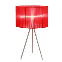 Simple Designs Red Sheer Silk Band Tripod Table Lamp-1270-LT2006-RED - $44.99