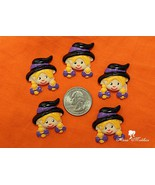 5 pcs Little Witch Halloween Flatback Resins, Cabochons, Bow Centers - $5.00