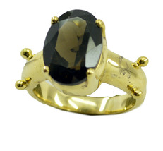handsome Smoky Quartz Gold Plated Brown Ring Natural common US gift - $20.99