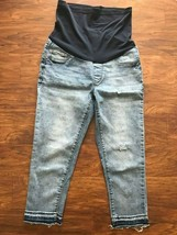 Pre-owned S.O.N.G. Maternity JEANS sz S blue denim pants 3/4 length elastic - $11.78