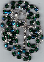 Rosary - Green 7mm Lock Linked Aurora Glass Bead - MB80/G-1085A/G - $21.99