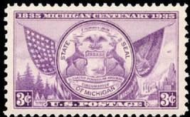 1935 3c Michigan State Seal, Centenary Celebration Scott 775 Mint F/VF NH - $0.99